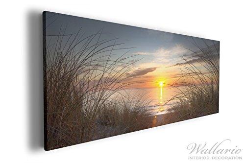 Wallario XXL Wallario Leinwandbild Sonnenuntergang am Strand - 60 x 150 cm in Premium-Qualität:...