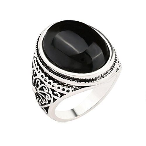 20mm Jewelry Round Ring Vintage Crystal Flower Carved Male for Men Black