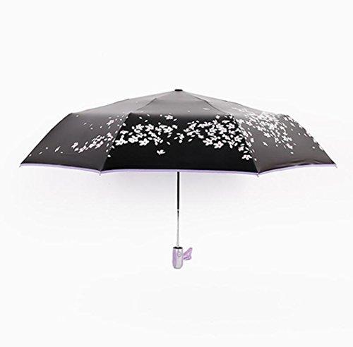 Sucastle Vinyl, Kirsche, Regenschirm, Sonnenschutz, sonnig, Dual, 8 Knochen, schwarzer Regenschirm Sucastle: Farbe: Außerhalb der schwarzen Kirsche lila: Größe: 54cm (54 Kirsche)
