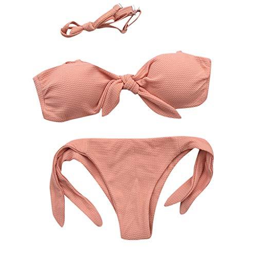 VBWER Damen Einfarbig Bikini-Sets Abnehmbar Bademode Push-up Bikinioberteil mit Nackenträger Strandkleidung - Geheimnis Boyshorts