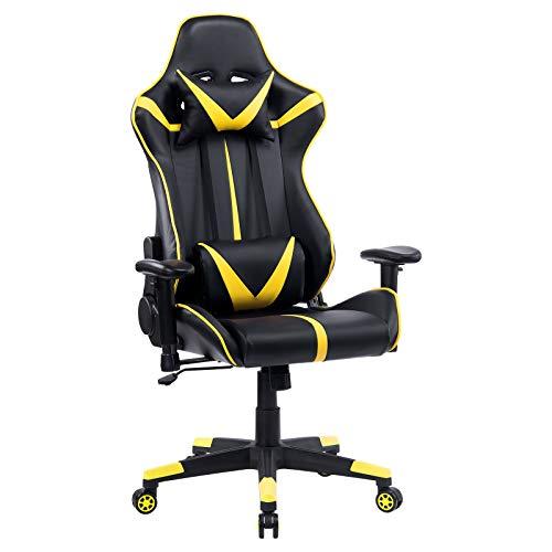 WOLTU® Racing Stuhl Gaming Stuhl Bürostuhl Schreibtischstuhl Sportsitz mit Armlehne, mit Kopfstütze und Lendenkissen, höhenverstellbar, dick gepolsterte Sitzfläche aus Kunstleder, Gelb, BS13gb