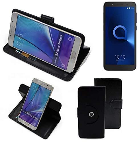 K-S-Trade® Hülle Schutzhülle Case Für -Alcatel 1C Single SIM- Handyhülle Flipcase Smartphone Cover Handy Schutz Tasche Bookstyle Walletcase Schwarz (1x)