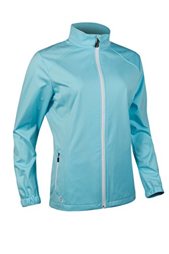 SUNDERLAND Damen-Stitch Detail Reißverschluss vorne Stretch Golf Wind Jacke Gr. X-Large, Aquamarine/White -