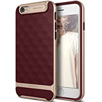 Funda iPhone 6, Caseology [serie Parallax] proteccion delgada de buena calidad con agarre texturizado y diseno geometrico [Borgona - Burgundy] para Apple iPhone 6 (2014) & iPhone 6S (2015)