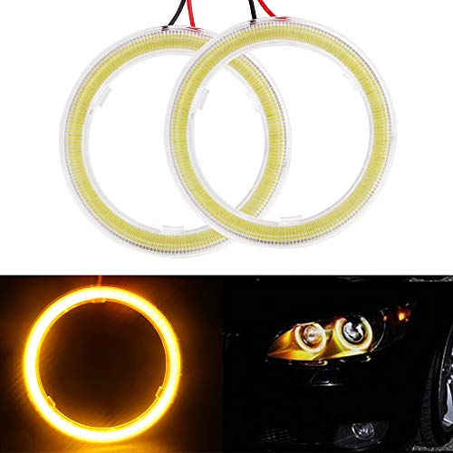 Everbrightt 1-Pair Yellow 60MM 45SMD LED Vehicle Car Angel Eyes Halo Ring Lights Lamps With SHELL