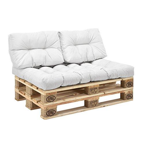 en.casa] Palettenkissen - 3er Set - Sitzpolster + Rückenkissen [weiß] Paletten-Sofa In/Outdoor - 2
