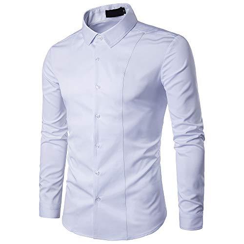 Gdtime camicie da uomo d'affari, camicia casual a maniche lunghe slim fit classica tinta unita camicia elegante antirughe per uomini delicati, taglia (bianco, l)