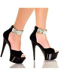 YMFIE Lo stile europeo di primavera ed estate zipper lacca di metallo sottile e poco profonda punta tacco alto scarpe donna sandali,35…