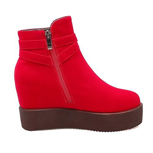 AgooLar Damen Hoher Absatz Rein Mattglasbirne Reißverschluss Stiefel, Rot, 35