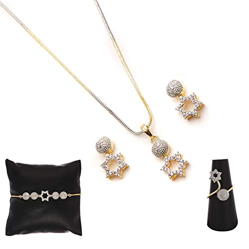 Zeneme American Diamond Traditional Fashion Jewellery Combo of Necklace Pendant Set/Ring/Bracelet with Earring for Women/Girls (Star)