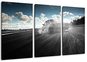 Dark BMW dérive motif, 3 pièces sur toile (taille totale: 120x80 cm), l'art de haute qualité d'impression que murale. Moins cher que une peinture à l'huile! ATTENTION NO affiches ou affiche!