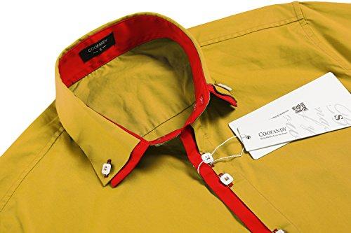 Coofandy Chemise Homme Manche Longue Coton Slim Fit Casual Col Contrasté Boutonné Taille S-XXXL Jaune (Or)