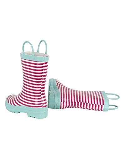 Hatley Pink Stripe Rain, Bottes de Pluie fille Rose