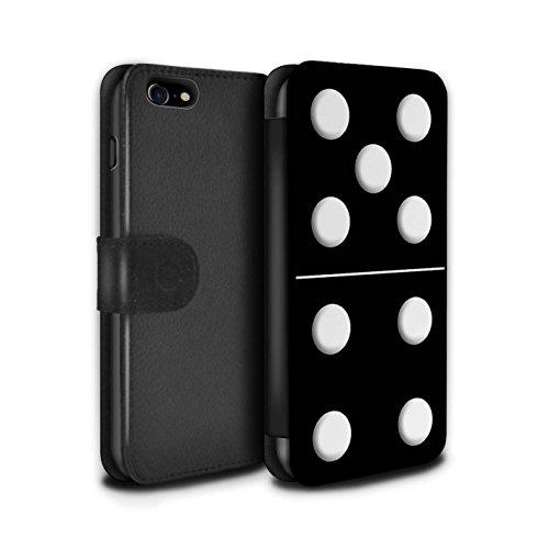 Stuff4 Coque/Etui/Housse Cuir PU Case/Cover pour Apple iPhone 7 / Tuile Blanc 5/1 Design / Domino/Dominos Collection Tuile Noir 5/4