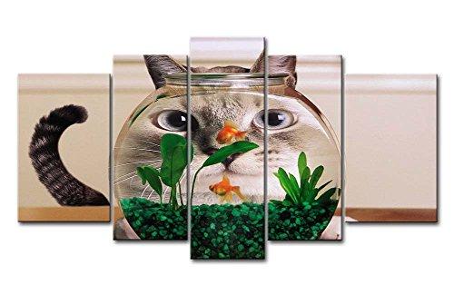 5Panel Art Wand Bild Katzen betrachten Goldfish gruen Grasss in Tank Prints auf Leinwand Das Tier Bilder Öl für Home Moderne Dekoration Print Decor