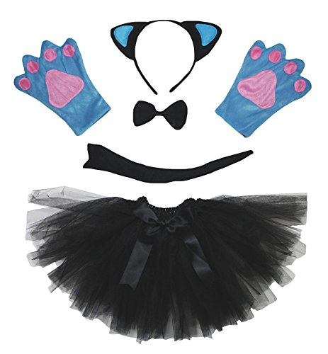Petitebelle Blue Cat Headband Bowtie Tail Gloves Black Tutu Costume for Girl (One Size)