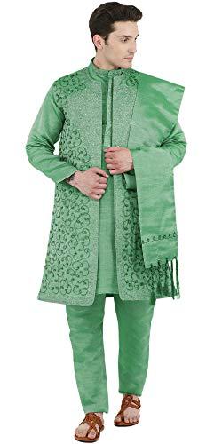 Kurta Pyjama Sherwani Stola Set Men Green Indian Sherwani Hochzeitsgesellschaft 4-Pieces Dress -L ()