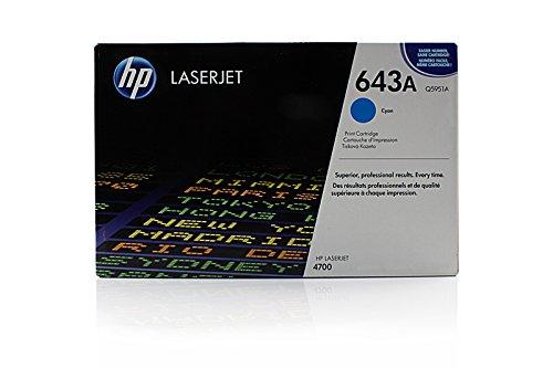 Toner ORIGINAL zu HP Color LaserJet 4700 / 4700 DN / 4700 DTN / 4700 N / 4700 PH Plus, 1x cyan / blau, 10.000 Seiten, ersetzt Q5951A, 643A