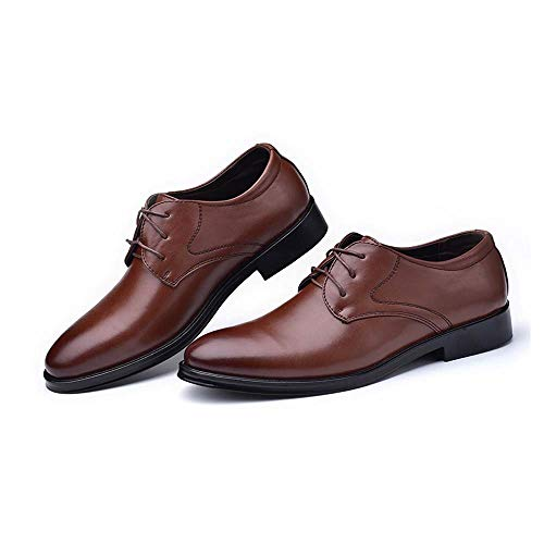 LANSHAY Jungen Herren Oxford Schuhe Leder Cap Toe Klassische Formale Business Dress Schuhe für Männer rutschfest Büro (Farbe : Braun, Größe : 42EU) (Jungen-brown-leder-kleid-schuhe)