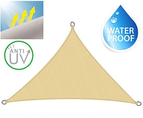 Sever Tech Tenda da Sole A Vela da Giardino Impermeabile Anti UV Super Resistente (300X300X300, Beige)