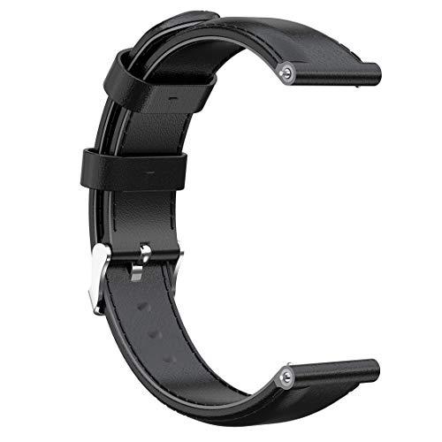 LOKEKE Ersatz-Armband für Mobvoi TicWatch C2 (Schwarz/Silber) 20 mm Ersatzarmband aus echtem Leder für Mobvoi TicWatch C2 (Schwarz/Silber) / Garmin Vivoactive 3 (Kreuzstich Uns)