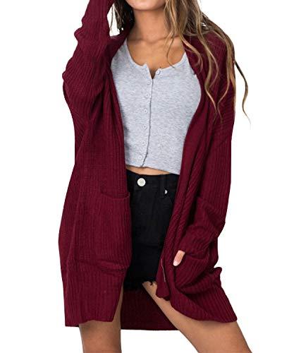 Kenoce Damen Lange Sleeve Cardigan Open Front Knit Sweater Coat mit Taschen Oversize Weinrot EU36/Etikettgröße S