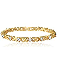 Mahi Gold Plated Brass Alloy with Crystal Single Strand Bracelet for Women Br1100126G