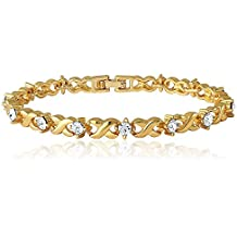 Valentine Gift - Mahi Gold Plated Brass Alloy With Crystal Single Strand Bracelet For Women BR1100126GC