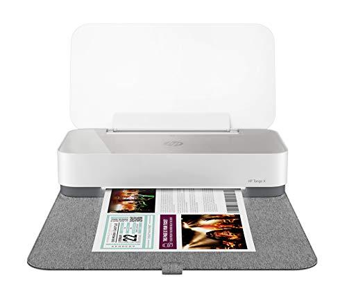HP Tango X Drucker (Smarter Drucker, kostenlos Fotos drucken mit HP Instant Ink, WLAN, Bluetooth, graues Wrap Pad) weiß/grau