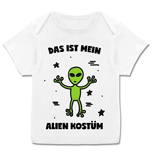 Mädchen Kostüm Baby Alien - Karneval und Fasching Baby - Das ist Mein Alien Kostüm - 68-74 (9 Monate) - Weiß - E110B - Kurzarm Baby-Shirt für Jungen und Mädchen