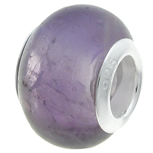 Sterling silver natural amethyst bead 925 for European bracelets