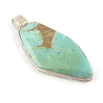 Pendentif de minéral Turquoise vert serti d'argent 925, 37x20x5 mm
