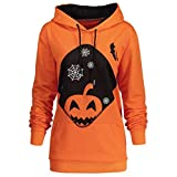 MIRRAY Damen Lange Ärmel mit Kapuze Halloween Kürbis Bat Hexe Kordelzug Printed Hoodie Sweatshirt Tops