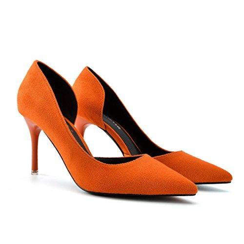Spitz Stilettos On Zehen Slip Damen Nubukleder Abendschuhe Heels Orange Hochzeit Seitlich Pumps Atmungsaktiv High Ifwxx8q5U
