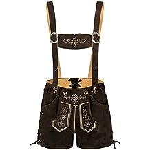 Damen 100% Wildleder - Trachtenlederhose Kurz Hotpants - Lederhose - Trachtenlederhose damen kurz - Trachten Lederhose Damen dunkelbraun - Trachtenhose Hotpants - Oktoberfest lederhose