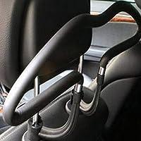 periwinkLuQ Clothes Hangers, Car Auto Seat Headrest Back Clothes Coat Suit Hanger Vehicle Faux Leather Holder - Black
