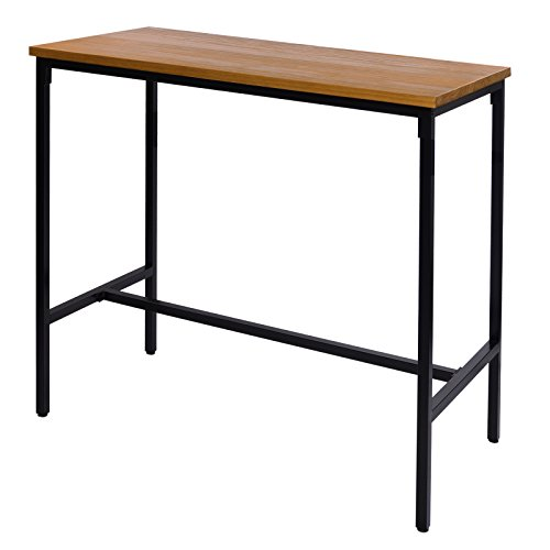 WOLTU BT13hei 1x Bartisch Bistrotisch Stehtisch Esstisch, Metallgestell, Tischplatte aus Massivholz, Eiche, 120x66x110cm(BxTxH)
