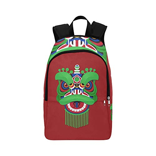 Chinesisches Neujahrsfest Lion Dance Head Lässige Daypack Reisetasche College School Rucksack für Herren und Frauen