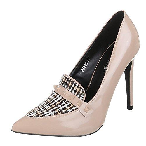 Damen Schuhe High Heels Plateau High Heel Pumps Pfennig-/Stilettoabsatz Beige