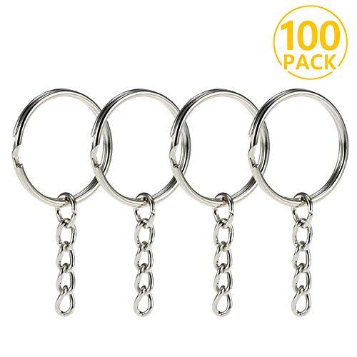 Foonii® Set 100 Schlüsselringe mit Kette Schlüsselanhänger Keyring Chain 25mm Edelstahl, 4 Gliederkette