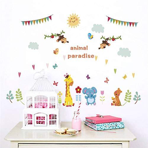 RUQIANGTIE Waldtiere Löwe Giraffe Affe Schmetterling Wandaufkleber Für Zimmer Wohnkultur Wandtattoos Poster Wandbild
