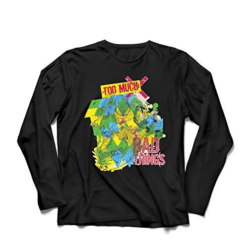lepni.me Langarm Herren T Shirts Zu viel schlechte Sachen sarkastischer Humor (Large Schwarz Mehrfarben) -