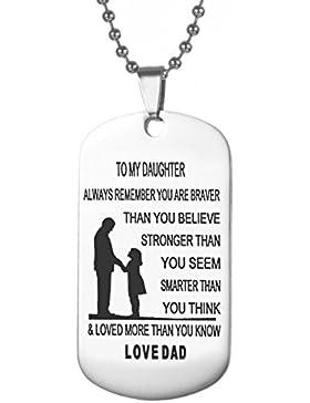 LITTONE® Tochter Dog Tag necklacenever vergessen ich liebe sie sich Custom Military Dogtags Anhänger Geschenk