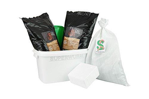 SUPERWURM Set große (ca. 315 Stück) Angelwürmer, Futterwürmer, Regenwürmer - 0,5 kg -