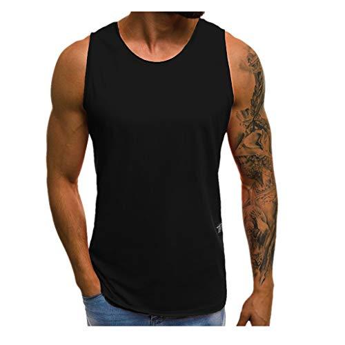 Tops Herren,SANFASHION Mode Persönlichkeit Männer Sommer Beiläufige Dünne ärmellose T-Shirt Top (L, Schwarz) Plaid Low Top Sneaker