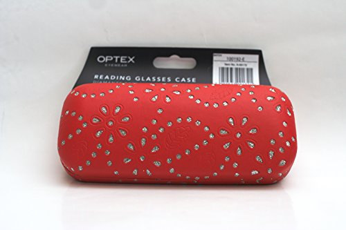 Diamonte effect Reading glasses case - Red