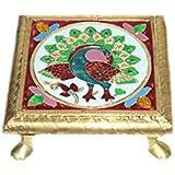 """SARVSIDDHI Sarvsiddhi Wooden Pooja Chowki 6""""X6"""""""