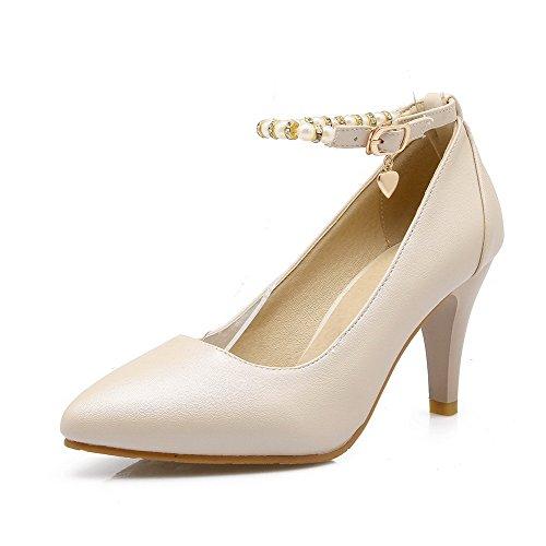 AllhqFashion Femme Stylet Couleur Unie Boucle Matière Mélangee Pointu Chaussures Légeres Beige