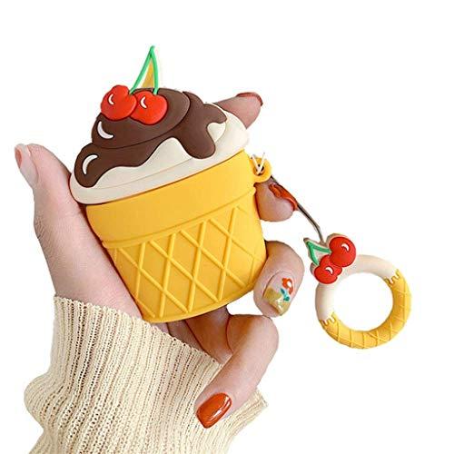 Altsommer Schutzhülle für Apple Air Pods, Schützende Cute Eis Design mit Schlüsselring Karabiner Tasche Staubdicht Kratzfestes Case Cute Apple