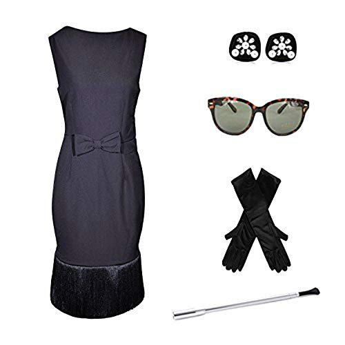 Schwarzes Tassel Kleid Kostüm Set, Audrey Hepburn Frühstück bei Tiffanys - Medium
